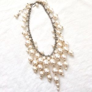 Dangled Faux Pearl Bead Silver Statement Necklace